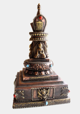 "Copper Dhyani Buddhas Stupa Chorten with Incense Burner 9"" High"