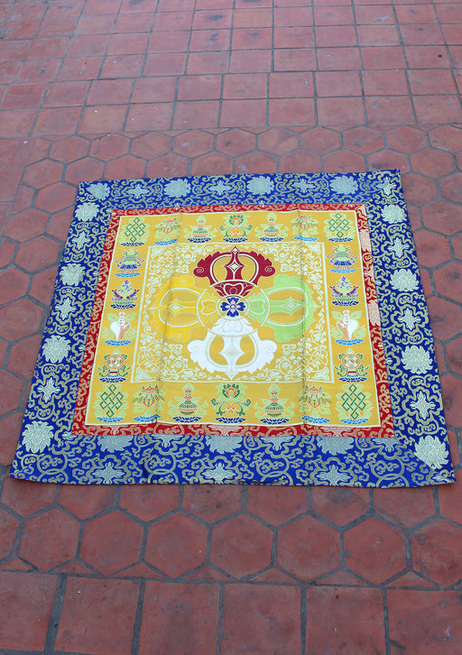 Double Dorjee and Auspicious Symbol Brocade Altar Cloth