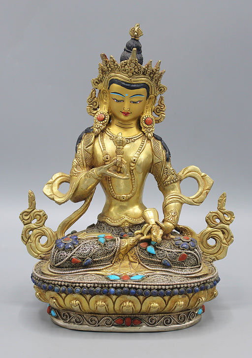 Gold Plated Vajrasattva Statue With Silver Filigree and Turquoise Inlays