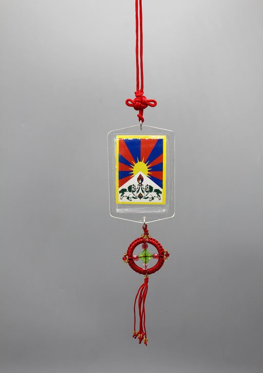 Dalai Lama and Tibet Flag Printed Car Hanging Protection Amulet