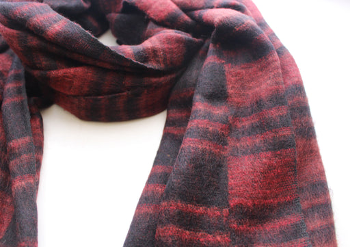 Red and Black Lining Hand Loomed Himalayan Yak Wool Blanket/Shawl - nepacrafts
