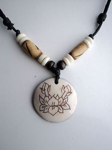 Lotus Bone Pendant Necklace - nepacrafts
