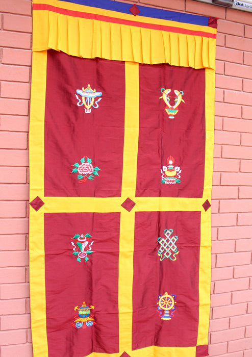 Polyester Silk Fabric Tibetan Lucky 8 Auspicious Symbol Embroidered Door Curtain - nepacrafts