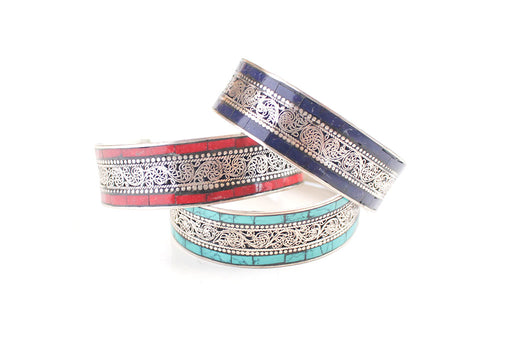 Inlaid White Metal Filigree Design Tibetan Bracelets - nepacrafts