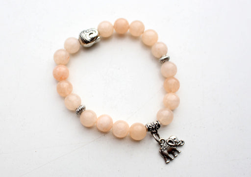Buddha Head Counter with Elephant Charms Stone Bracelet - nepacrafts