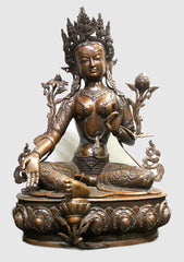"Skillfully Handcarved Copper Green Tara Statue 26"" High - NepaCrafts"