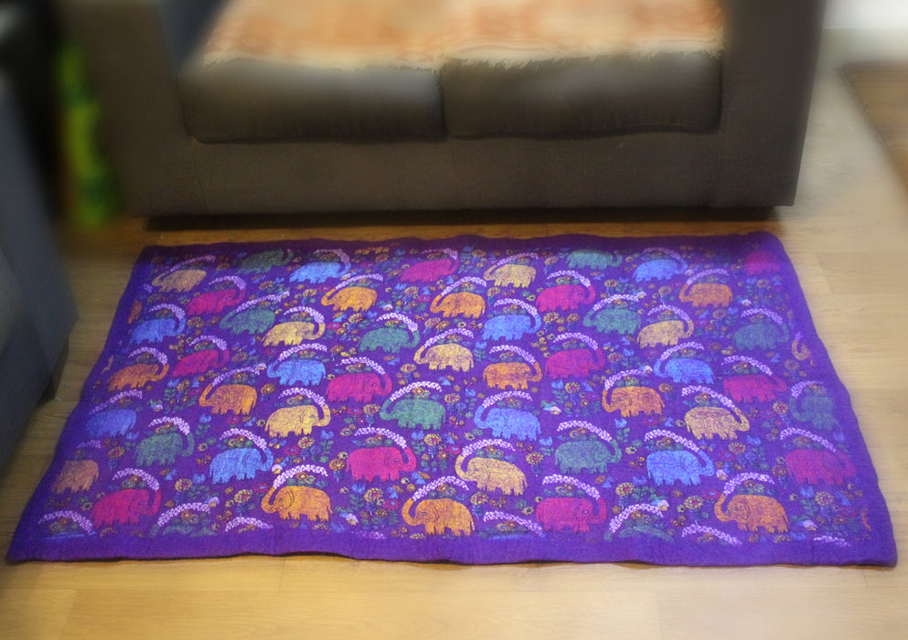 Elephant Print Colorful Felt Wool Indoor Mat - nepacrafts