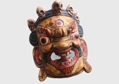 Handcrafted Grey Mahakala Wooden Wall Hanging Mask - NepaCrafts