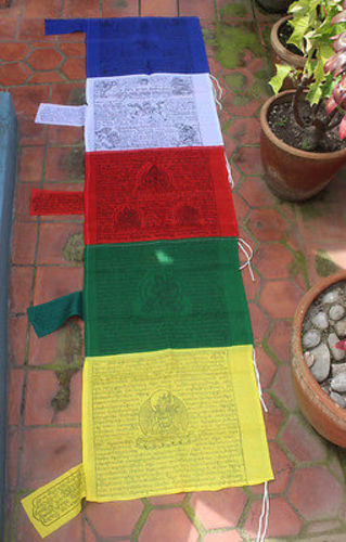 Traditional Five Colored Tibetan Vertical Prayer Flags