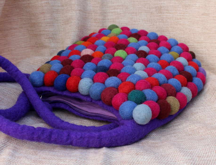 Purple Felt Shoulder Bags - nepacrafts