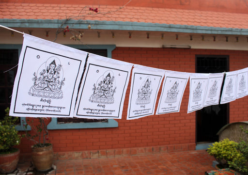All White Chenrezig Cotton Prayer Flags - nepacrafts