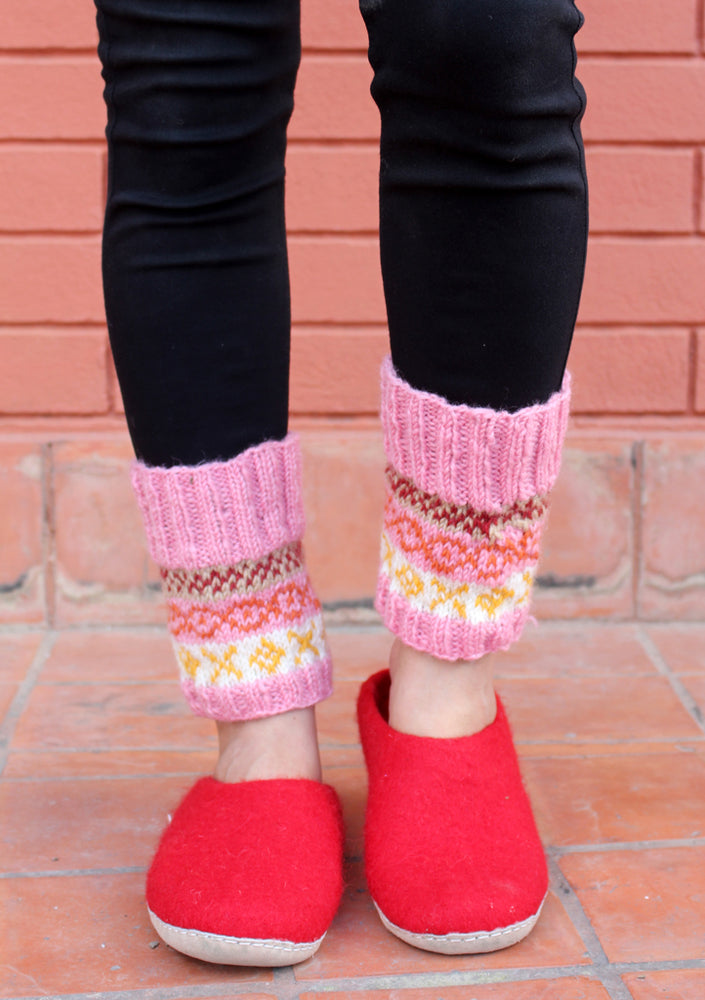 Light Pink and White Multicolor Woolen Short Legwarmers - nepacrafts