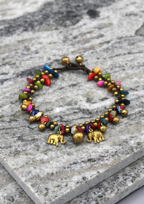 Colorful Stone Beaded Brass Bell Anklet - nepacrafts