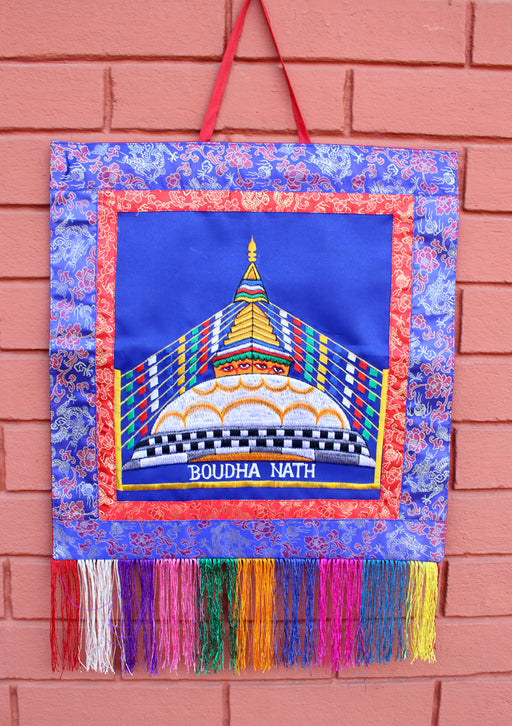 Finely Embroidered Bouddhanath StupaTibetan Wall Hanging Banner - nepacrafts