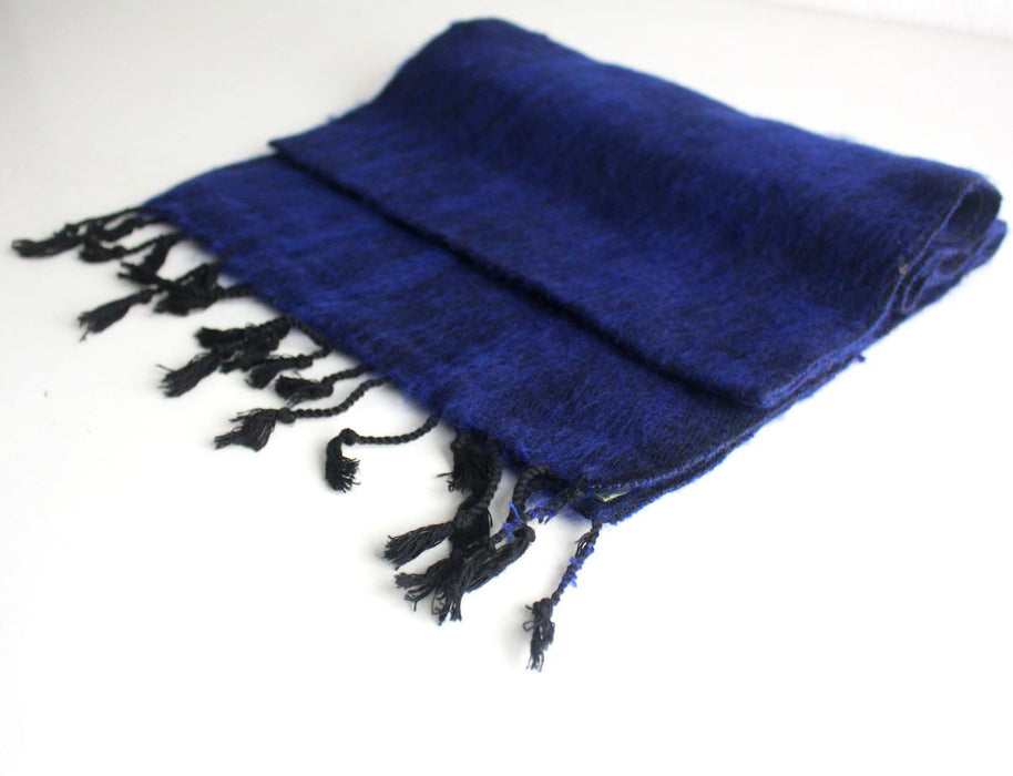 Traditionally Hand Loomed Dark Blue Woolen Muffler - nepacrafts