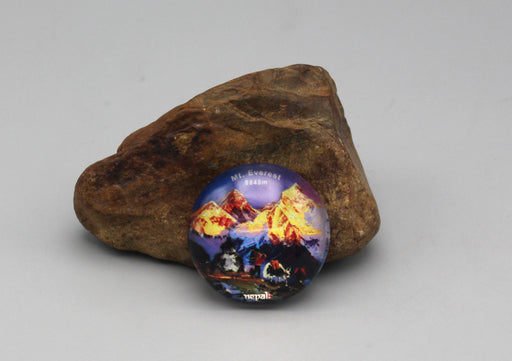 Mount Everest Nepal Glass Fridge Magnet - nepacrafts