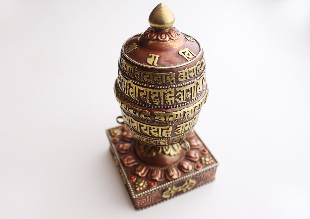 Handcarved Tibetan Desktop Spinning Prayer Wheel Inlaid with Resin Coral - nepacrafts