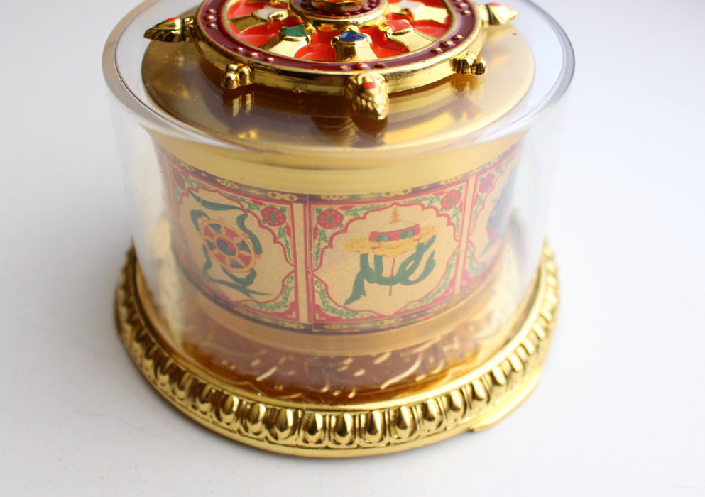"8 Auspicious Symbol Table Top Hand Spinning Prayer Wheel 4"" - nepacrafts"