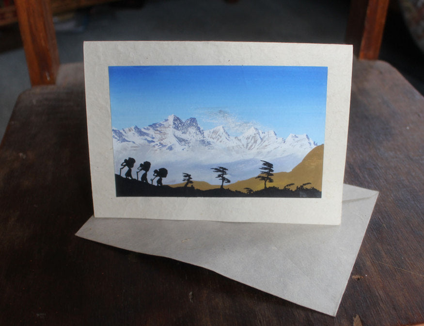 Mountains and Sherpa Porters  Greeting Card - nepacrafts
