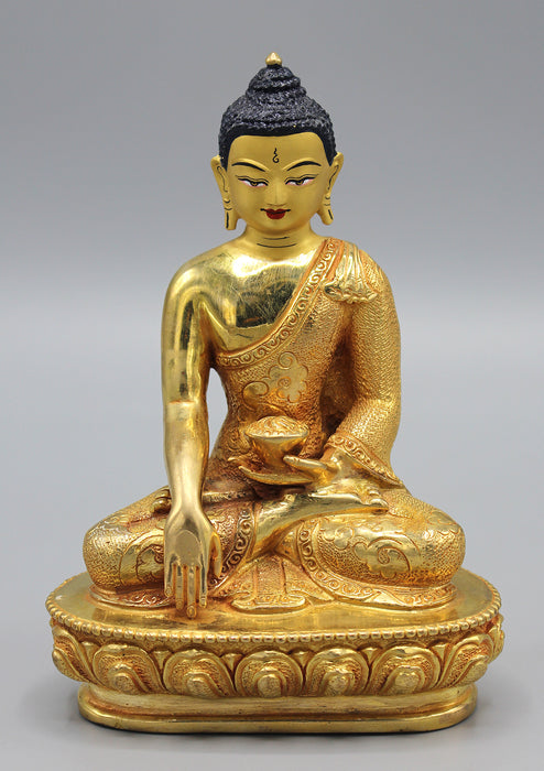 Hand Carving Shakyamuni Buddha Fully Gold Plated Statue