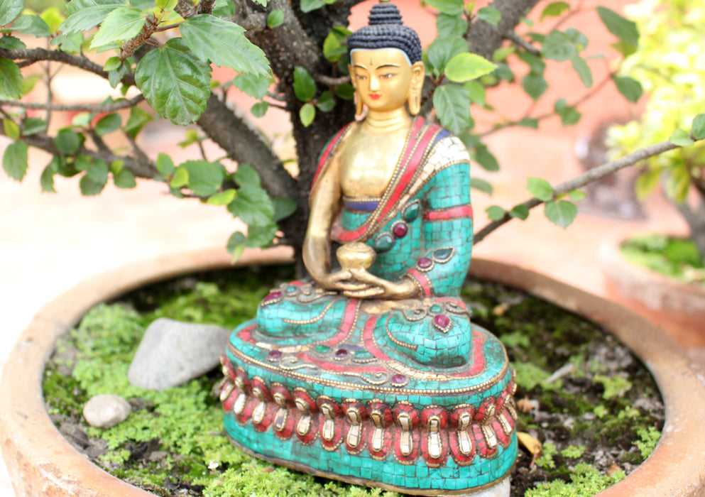 "8.5"" High Amitabh Buddha Statue Inlaid Turquoise and Coral - nepacrafts"