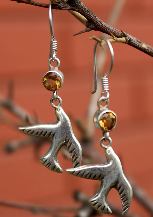 Dove Peace Bird Citrine Inlaid Silver Earrings - nepacrafts