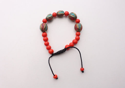 6mm Red Beads Bracelet with Oval Tibetan Beads Inlaid Faux Coral & Turquoise - nepacrafts