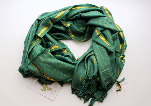Bright Green Plain Jari Cotton Scarf with Golden Lining - nepacrafts