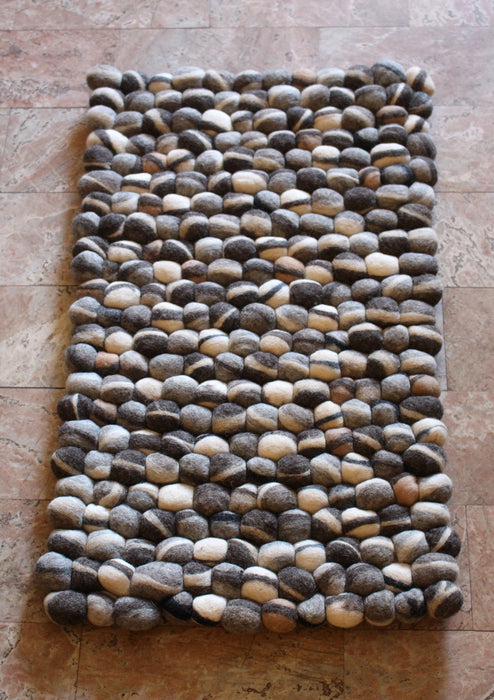 Brown and Gray River Pebbles Felt Ball Floor Mat