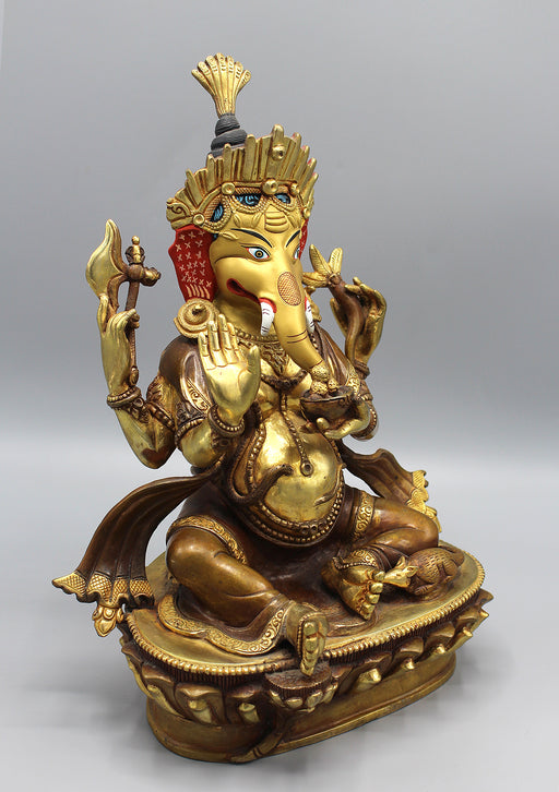 Partly Gold Painted Hindu Lord Ganesha Statue