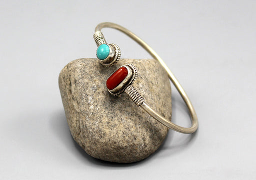 Plain Coral and Turquoise Inlaid Sterling Silver Bracelet - nepacrafts