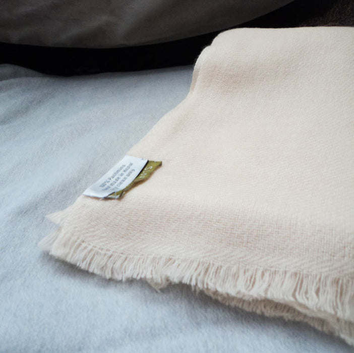 Pure Pashmina Shawl Cream - nepacrafts