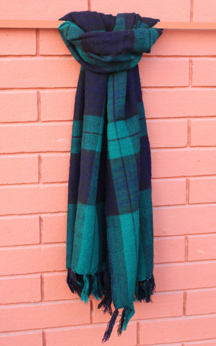 Check Yak Shawl Green - nepacrafts
