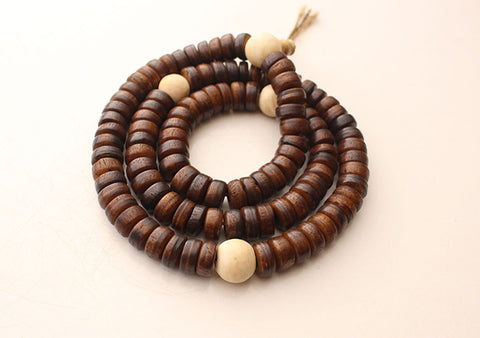 Disk Shaped Brown Yak Bone Japa Mala with White Conch Counter - NepaCrafts