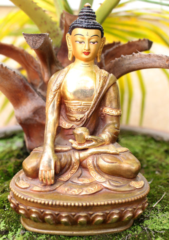 "Gold Plated 6"" High Shakyamuni Buddha Statue - NepaCrafts"