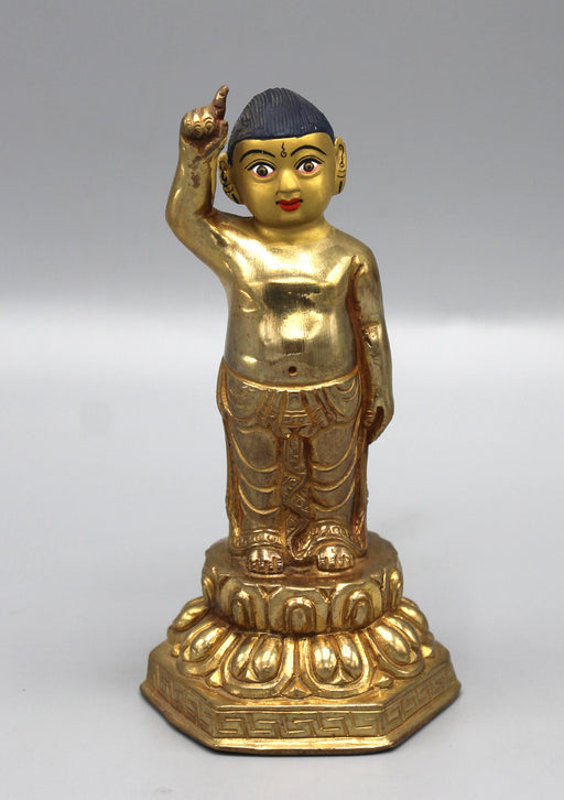 Fully Gold Plated Standing Buddha Statue - nepacrafts