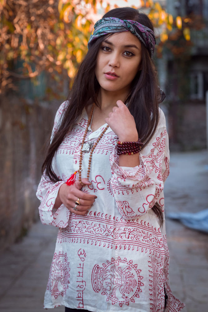 White Om Kurtha Shirt