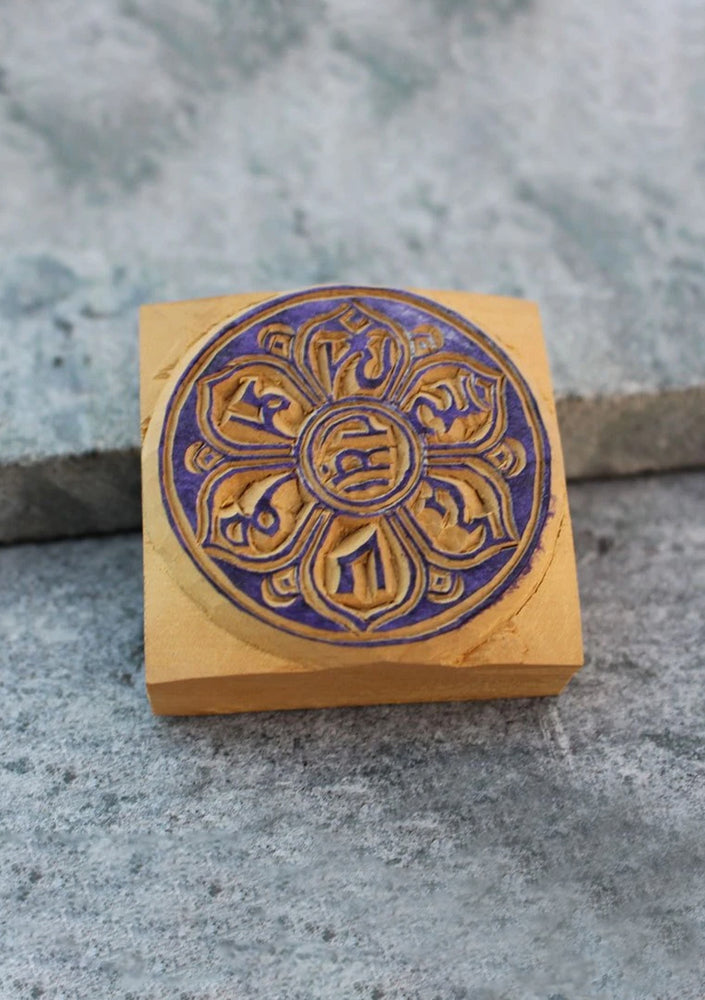 Om Mani Mini Wooden Block Print