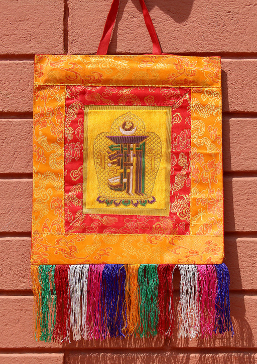 Orange Brocade Framed Tibetan Kalachakra Wall Hanging Banner