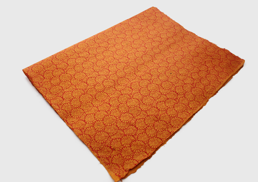 Orange with Red Flower Printed Handmade Gift Wrapping Lokta Paper Sheets - nepacrafts