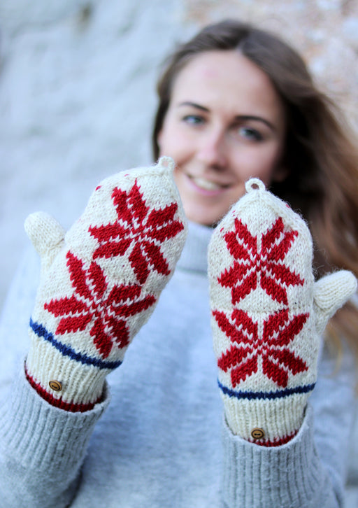 Pure Wool Snow Flake Pattern Convertible Mittens
