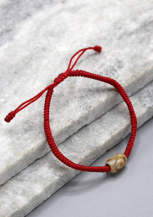 Red Color Lucky Knots Bracelet with Dzi Bead