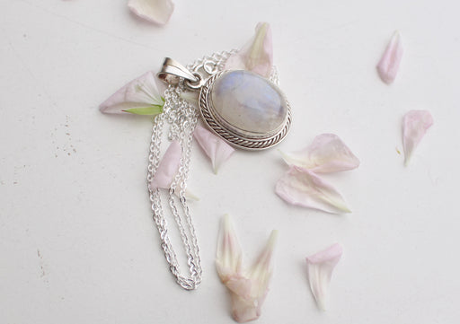 Radient Moonstone Pendant with Silver Chain 925 Silver Sterling - nepacrafts
