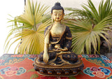 "12"" High Gold Plated Shakyamuni Buddha Statue on the Wooden Throne - NepaCrafts"