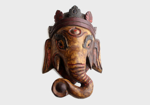 Stunning Lord Ganesha Wooden Wall Hanging Mask - nepacrafts