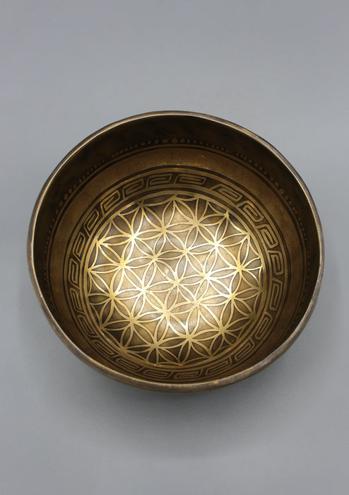 Tibetan Mandala Carving Singing Bowl - nepacrafts