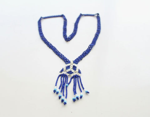 Blue Glass Beads Women's Necklace - NepaCrafts