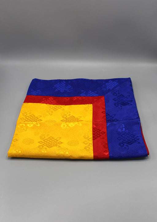 Yellow Silk Brocade Buddhist Endless Knot Altar Cloth - nepacrafts