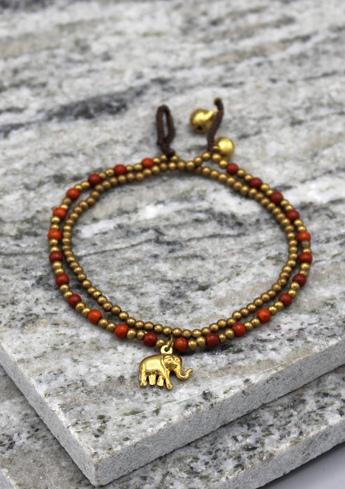 Multicolor Glass Beads Elephant Charm Anklet - nepacrafts