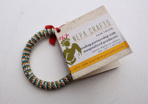 Green, Golden and White Beads Nepalese Roll on Bracelet - nepacrafts